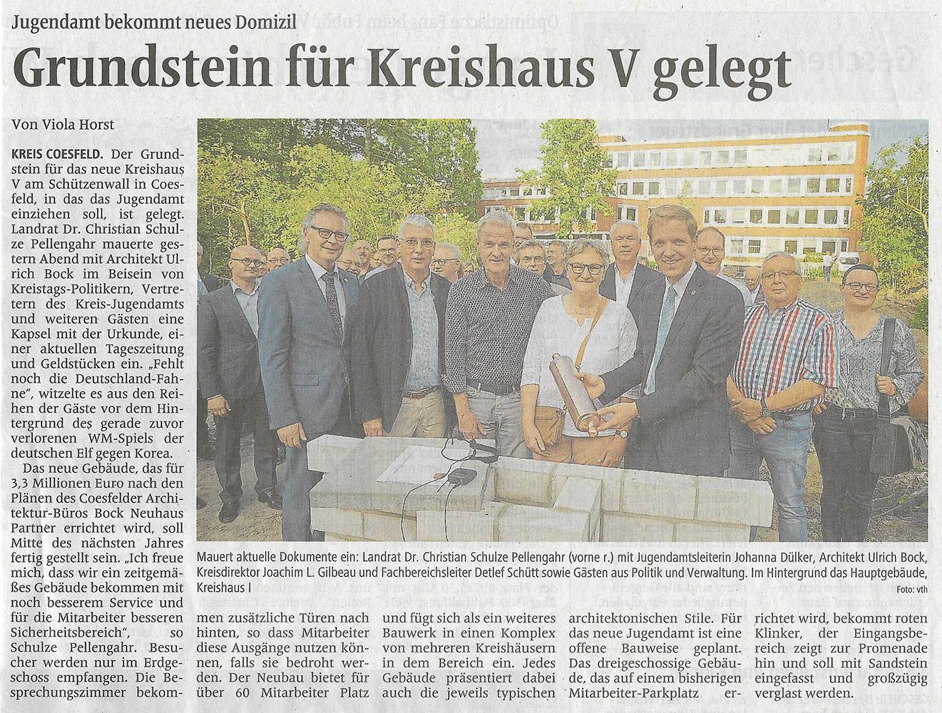 Neubau Kreishaus 5 Zeitungsartikel Grundsteinlegung
